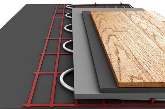 Système de chauffage au sol. on voit des couches d'isolant pour le chauffage. rendu 3d