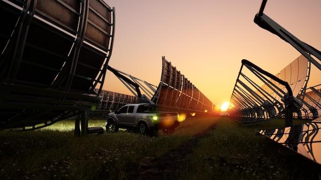 Système de chauffage solaire de l'eau au coucher du soleil allume l'énergie renouvelable écologique