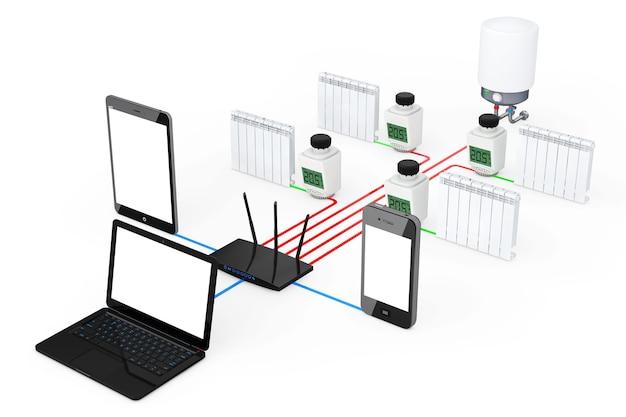 Système de climatisation domestique sans fil contrôlé par ordinateur portable, tablette pc et téléphone portable sur fond blanc. rendu 3d.