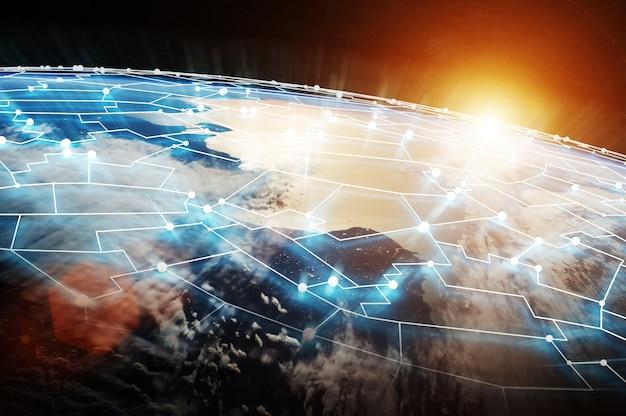 Système de connexions et échanges de données sur le rendu 3d de la planète terre