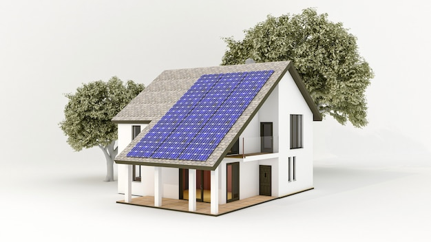 Système d'énergie solaire avec panneaux solaires photovoltaïques sur le toit de la maison