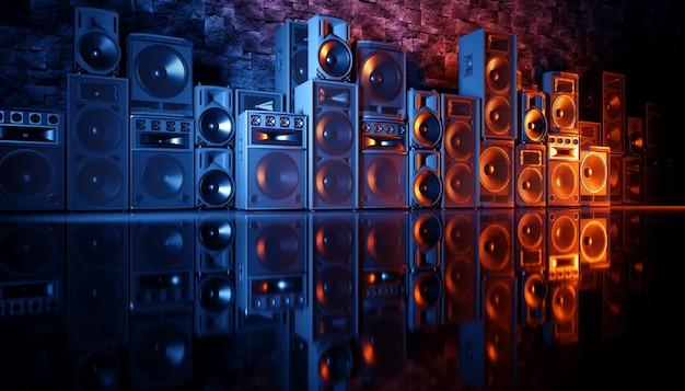 Système de haut-parleurs sur fond noir en éclairage bleu et orange, illustration 3d