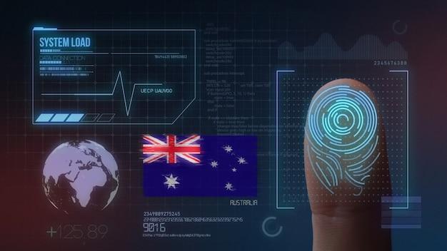 Système d'identification biométrique à balayage d'empreintes digitales. nationalité australienne