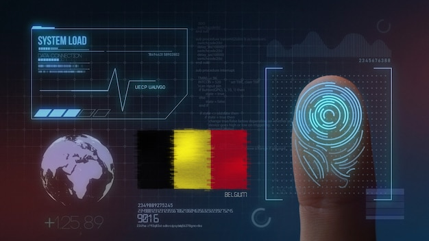 Système d'identification biométrique à balayage d'empreintes digitales. nationalité belge