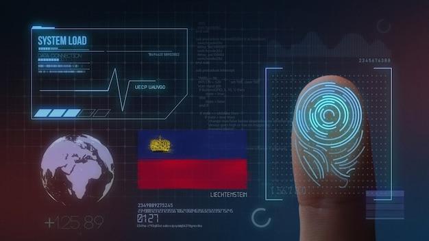 Système d'identification biométrique à balayage d'empreintes digitales. nationalité liechtensteinoise
