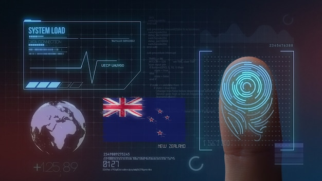 Système d'identification biométrique à balayage d'empreintes digitales. nationalité néo-zélandaise