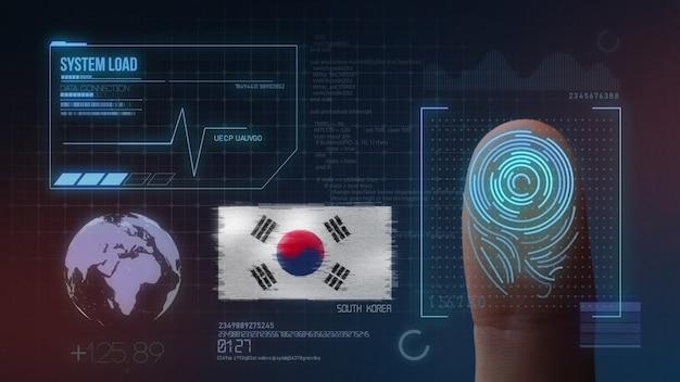 Système d'identification biométrique à balayage d'empreintes digitales. nationalité sud-coréenne