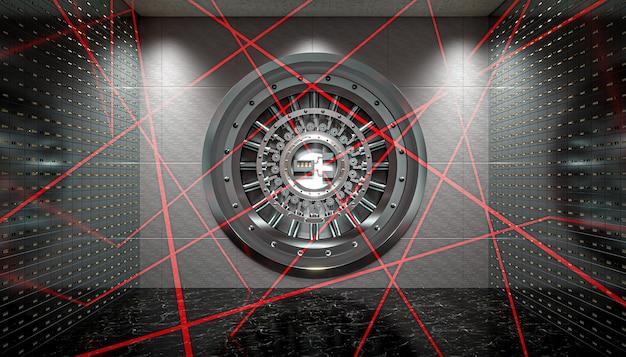 Système de sécurité à faisceau laser à l'intérieur d'une banque