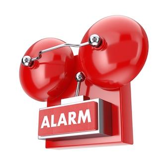 Système de sonnerie d'alarme incendie rouge sur fond blanc. rendu 3d