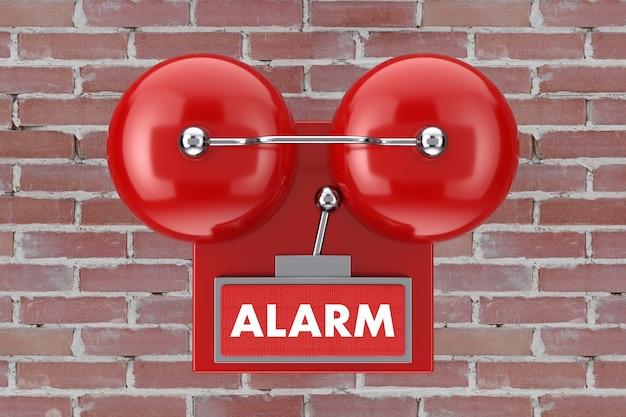 Système de sonnerie d'alarme incendie rouge sur un fond de mur de briques. rendu 3d