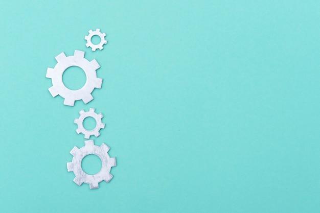 Système de travail des roues dentées, travail d'équipe, pose à plat, vert clair