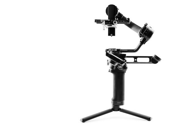 Système de trépied de stabilisation de cardan de caméra sur un fond blanc