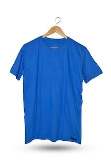 T-shirt bleu sur blanc