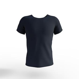 T-shirt noir isolé sur fond blanc. rendu 3d