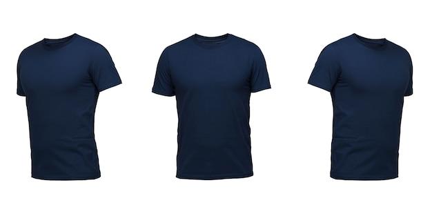 T-shirt sans manches bleu foncé. t-shirt vue de face trois positions sur fond blanc