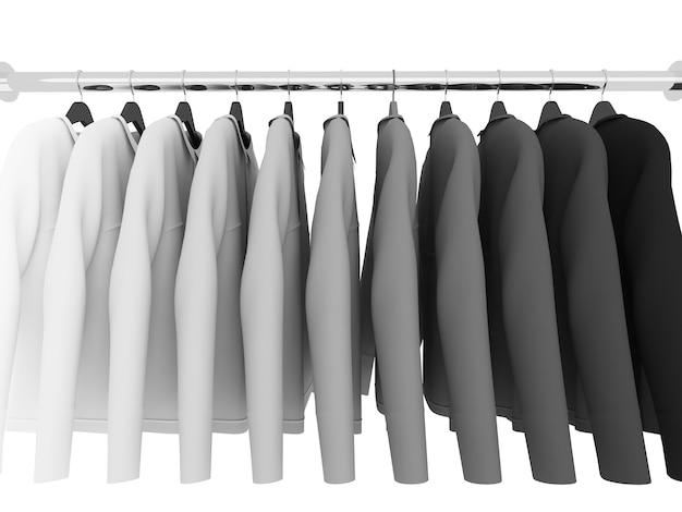 T-shirts noir et blanc avec cintres isolés sur blanc, 3d