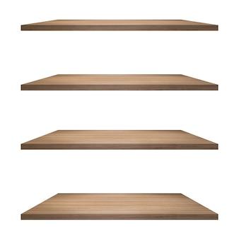 Table de 4 étagères en bois isolé sur fond blanc et montage d'affichage pour le produit.