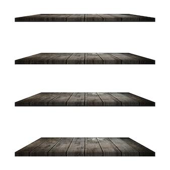 Table à 4 étagères en bois isolée sur fond blanc et montage d'affichage pour le produit.
