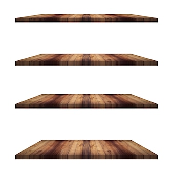 Table de 4 étagères en bois isolée, montage d'affichage pour produit.