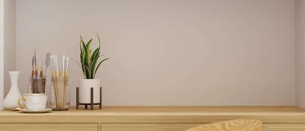 Table artisanale avec espace de copie, outils de peinture et pot de fleurs au bureau à domicile, rendu 3d, illustration 3d