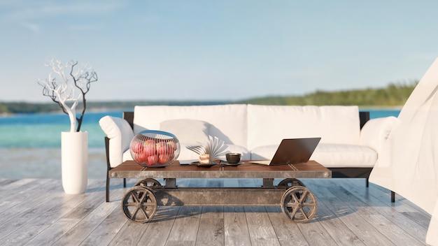 Table basse canapé à l'extérieur de la maison et équipement pour le travail et les loisirs 3d et illustration