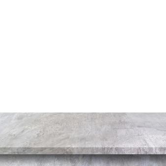 Table en béton vide sur blanc isolé et avec espace de copie.