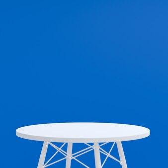 Table blanche ou support de produit pour afficher le produit sur bleu