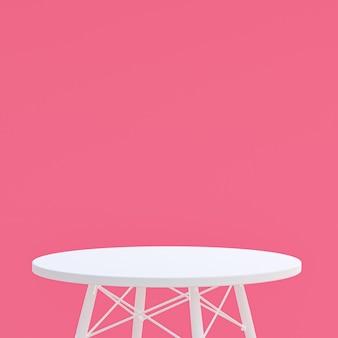 Table blanche ou support de produit pour produit d'affichage sur rose