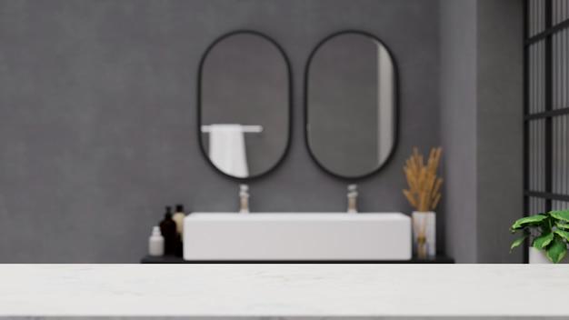 Table blanche vide au-dessus de la salle de bains moderne avec le double miroir et l'évier sur le mur en béton gris 3d
