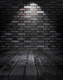 Table en bois 3d contre un mur de brique