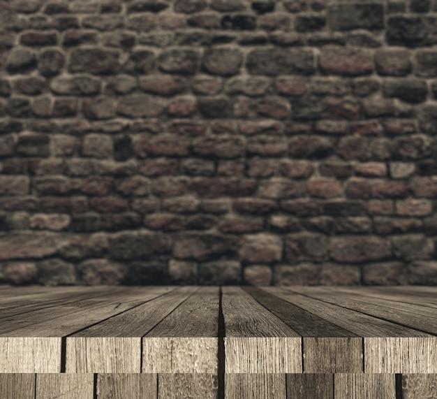 Table en bois 3d contre le mur de briques défocalisé