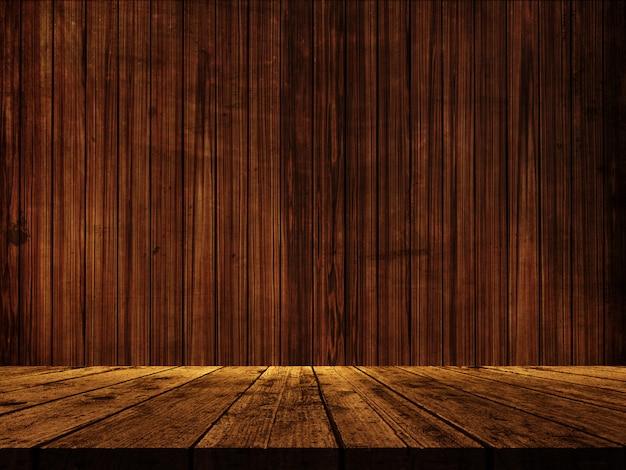 Table en bois 3d contre une texture de mur en bois