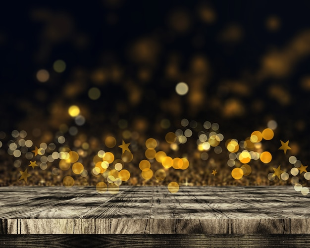 Table en bois 3d sur fond de lumières et de bokeh étoiles