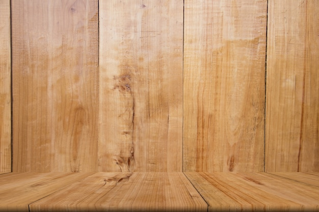 Table en bois blanc de brun, espace copie, maquette, abstrait
