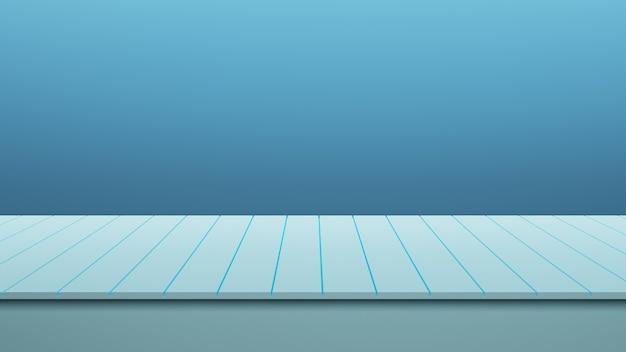 Table en bois bleue détaillée réaliste avec fond de mur bleu pour présenter le produit