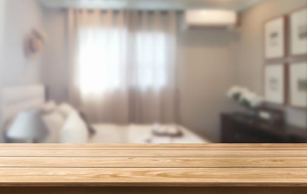 Table en bois dans la décoration de la maison moderne.