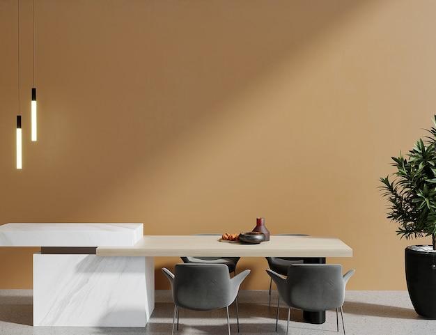 Table en bois devant le mur orange rendu 3d