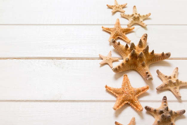Table en bois d'été avec des étoiles de mer et des coquillages sur une vue de dessus de fond blanc. copiez l'arrière-plan de l'espace, concept d'été.
