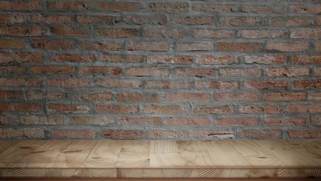 Table en bois et fond de mur de briques rouges
