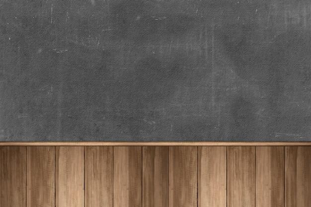 Table en bois avec fond de mur noir