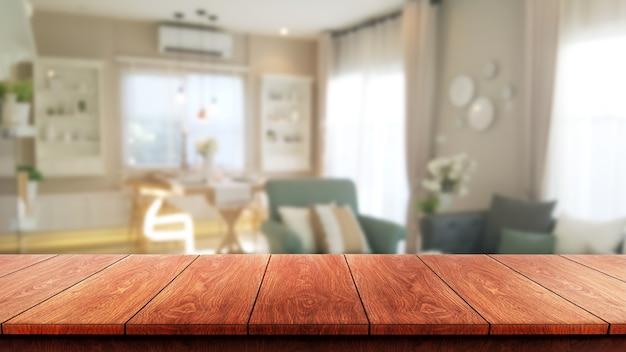 Table en bois à l'intérieur de la maison moderne avec copie espace vide sur la table pour l'affichage du produit