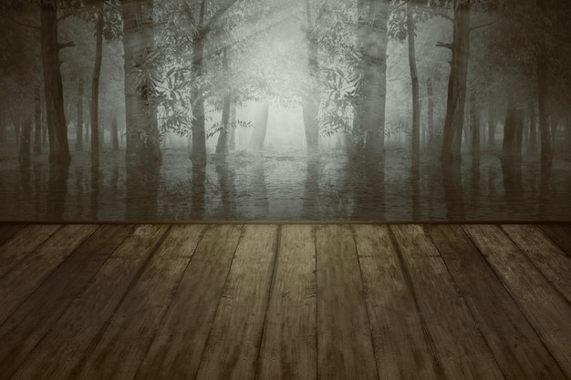 Table En Bois Avec Un Lac Dans La Forêt Avec Un Fond De Scène Dramatique. Concept D'halloween Photo Premium