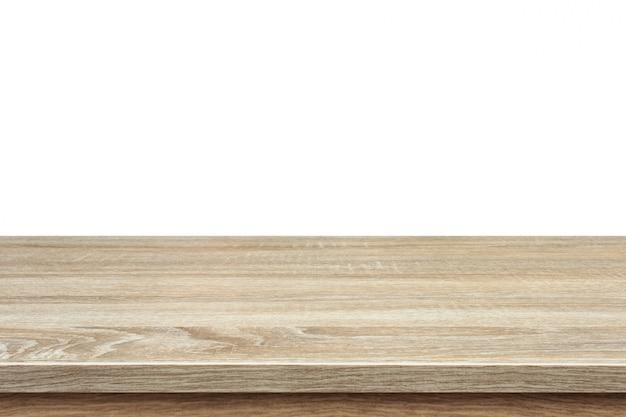 Table en bois marron ou comptoir isolé sur blanc