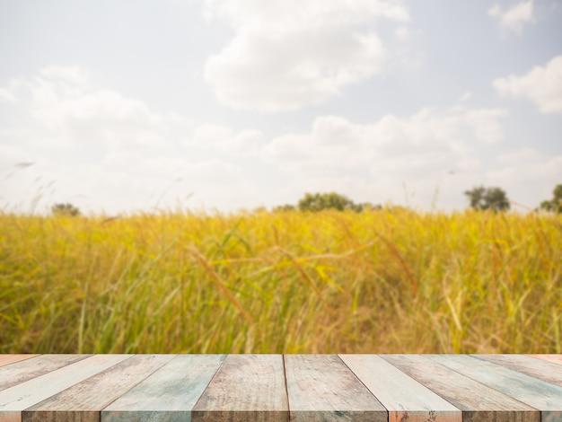 Table en bois mince sur les oreilles de riz avec ciel bleu