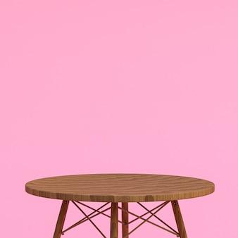 Table en bois pour l'affichage des produits sur fond rose
