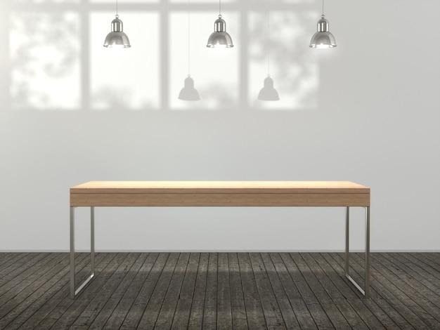 Table en bois pour produit montrant en vide.