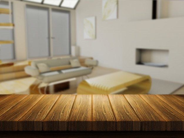 Table en bois avec salon défocalisé