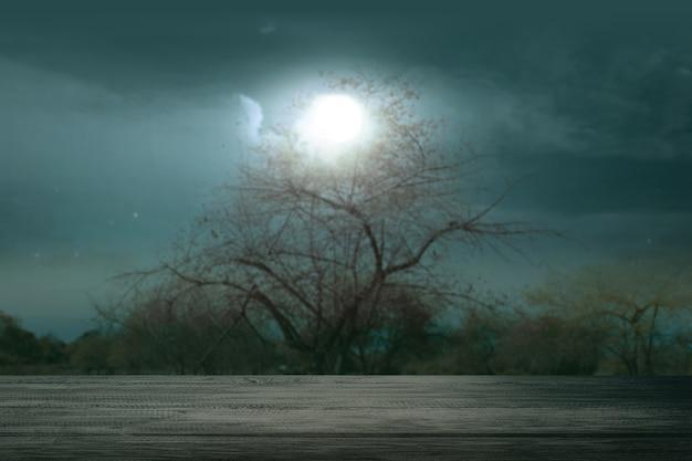 Table en bois avec une scène de nuit
