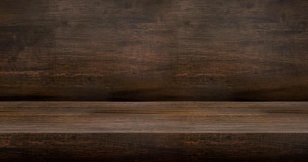 Table en bois sombre 3d texturée pour la présentation du produit