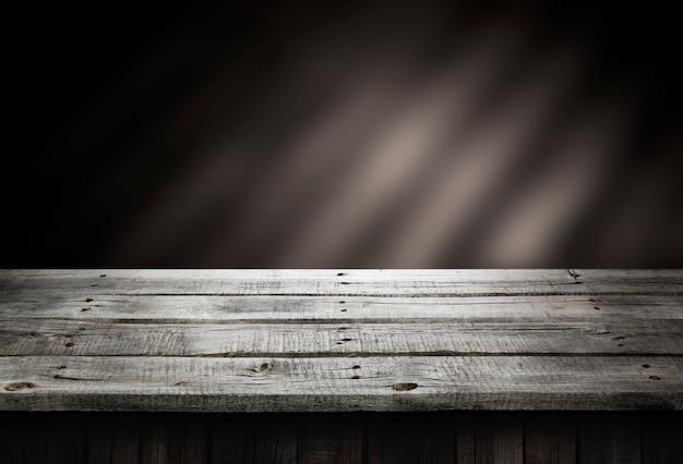 Table en bois sombre, perspective en bois